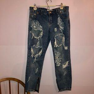 One Teaspoon Freebirds Medium Wash Distressed Jean